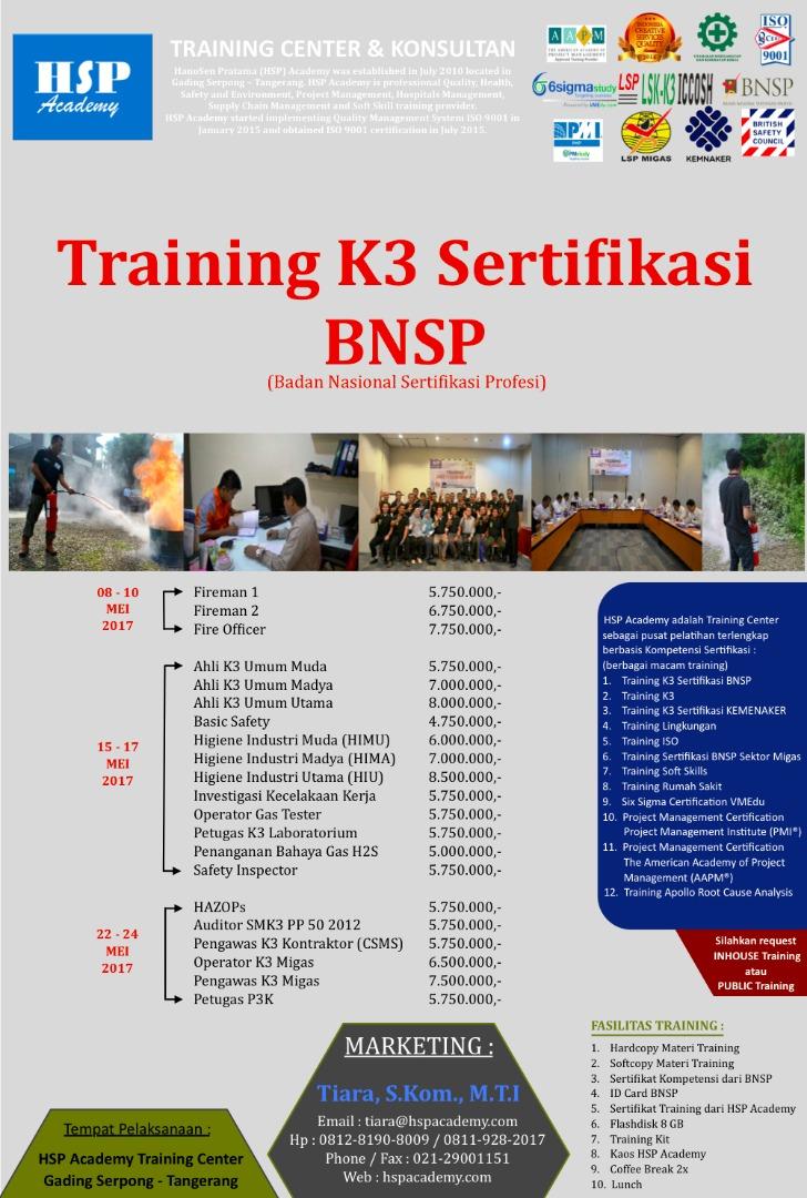 Training K3 Sertifikasi BNSP
