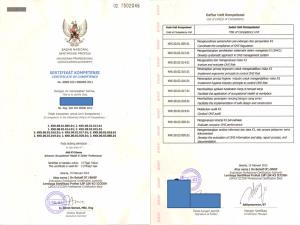 Contoh Sertifikat Ahli K3 Utama dari BNSP